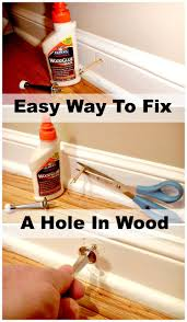 using glue and toothpicks to easily fill a hole in wood trim