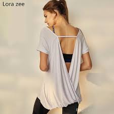 2019 lora zee knot back workout shirts white yoga tops open back t shirt for women running fitness sports short sleeves gym blouses 74526 from