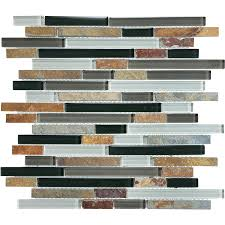 graphite linear mosaic stone and glass wall tile common 12 in x 12