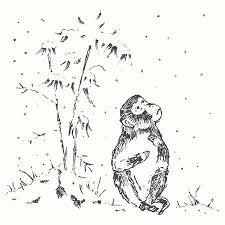 面白いかわいいサル猿年干支シンボル ベクトル イラスト手描きのスケッチ