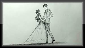 Pencil Sketches Of Couples Pencil Drawing Romantic Valentine Couple Dancing
