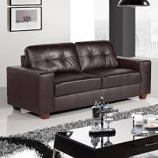 strada 3 seater dark brown leather sofa