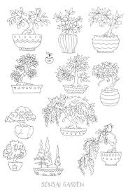 Printable Coloring Page Bonsai Garden Tree
