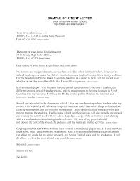 Letter Of Intent Template For Teaching Position