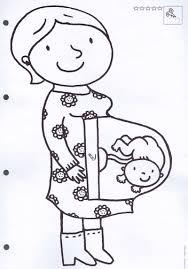 Kleurplaat Zwangere Mama Thema De Baby 母親節 Baby Shawer