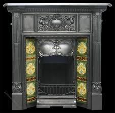 antique art nouveau edwardian cast iron fireplace