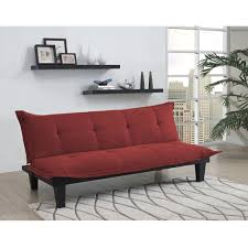 contemporary futon style sleeper sofa bed in red microfiber – loluxe