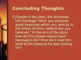 the alchemist discussion questions ppt concluding thoughts