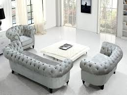 Gray Tufted Couch Sofa Luxury Grey Fabric Set  Velvet Chesterfield Grey Tufted Sofa I16