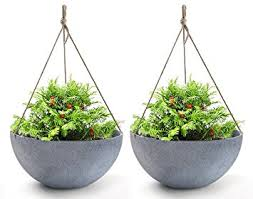 Amazon.com: Hanging Planters Large 13.8 In Resin Flower Pots Outdoor,  Garden Planters for Plants, Large Grey, Set of 2: Garden & Outdoor