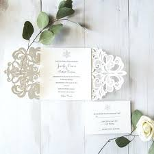 snowflake wedding invitations a simple silver laser cut diy snowflake wedding invitations