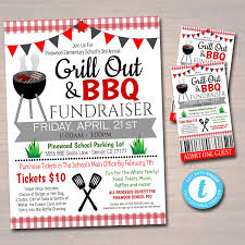 Editable Bbq Grill Out Fundraiser Flyer Ticket Poster Set