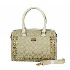 Coach Legacy Haley In Stud Signature Medium Khaki Satchels BDJ