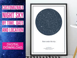 Birthday Sky Chart Star Map Custom Sky Chart Home Decor Night Sky Print Custom Birthday Gift Wedding Gift Bride I Love You To The Moon And Back