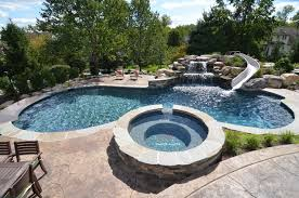 backyard salt water pool. Inspiration For A Timeless Custom-shaped Water Slide Remodel In Philadelphia Backyard Salt Pool M