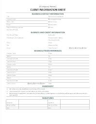 New Customer Information Template New Client Information Sheet