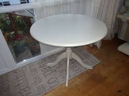 annie sloan chalk painted cream shabby chic small round dinning table