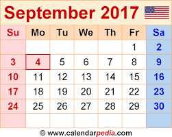 September 2017 Calendar With Holidays Templates Free Printable