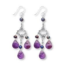 chandelier earrings amethyst cultured pearls sterling silver tap to expand