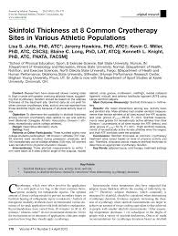 3 Site Skinfold Chart Pdf Skinfold Thickness At 8 Common Cryotherapy Sites In