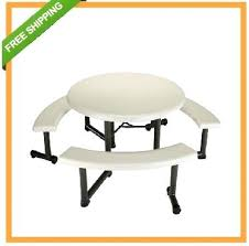folding table with bench lifetime round picnic table with swing out benches almond 4 pack folding table