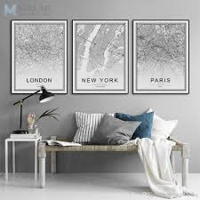 2018 black white world city map poster nordic living room london new york paris wall art pictures home decor canvas painting no frame from shengzhenming