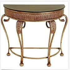 half moon console table. Half Moon Console Table Entryway Antique Look Gold Industrial Crescent Foyer D