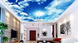3d Ceiling Design Wallpaper 3d Wall Mural Blue Sky False Ceiling For Living Room