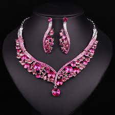 fashion indian jewellery pink crystal necklace earrings bridal Wedding Jewellery History price tracker and history of fashion indian jewellery pink crystal necklace earrings bridal jewelry sets wedding accessories decoration christmas gift women Beautiful Jewellery
