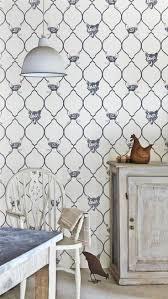 Fox & Hen Charcoal by Barneby Gates : Wallpaper Direct