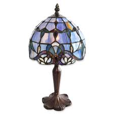 tiffany style 14 inc bronze table lamp vintage blue stained glass shade antique
