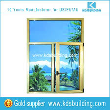 aluminium fixed and casement windows with yellow color aluminum profile and clear glass