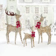 Reindeer Christmas Lights Outdoor Indoor Outdoor Christmas Reindeer Family Set Of Three With