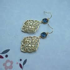navy filigree chandelier earring dark blue gold plated glass dangle earring bridesmaid gift boho earring blue