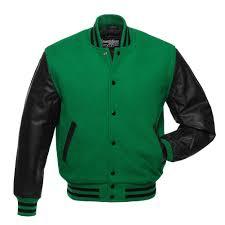 kelly green wool black leather letterman jacket