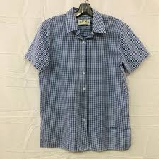 Orvis Blue Plaid Short Sleeve Collared Polo