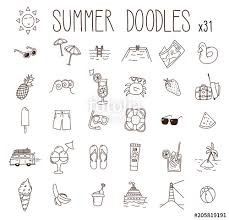 Set Of 31 Summer Drawings Vector Doodle Hand Drawn Icons Beach