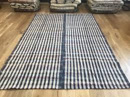 turkish kilim blue white check pattern navy handwoven vintage flat woven carpet cotton rug children s rug handmade large size