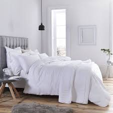 bianca cotton waffle stripe double duvet cover set white