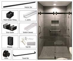 two door bypass sliding shower door system