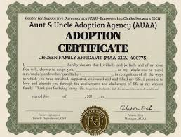 Aunt Uncle Adoption Certificate Center For Supportive Bureaucracy