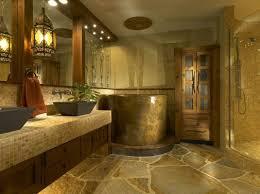 bathroom stone wall white stain varnished wood floor tile round purple fur area rug toilet next