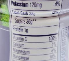 yes 36 grams of sugar in 8 ounces of juice that is over 7 teaspoons of sugar and is 12 grams more than an 8 ounce gl of coca cola