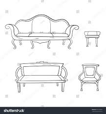 couch drawing. Antique Furniture Set: Chair, Couch, Sofa, Chair And Isolated On A White Couch Drawing J