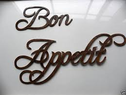Bon Appetit Wall Decor Plaques Signs Hand Made Bon Appetit Words Medium Sized Bon 100 Appetit 100 Wide 12