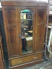 english antique armoire antique. ANTIQUE INLAID MAHOGANY ENGLISH WARDROBE ARMOIRE WITH BEVELED MIRROR English Antique Armoire