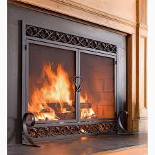 fireplace chimney doors lovely cast iron scrollwork fire screen with doors