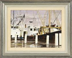 """Sold Price: FRAMED PAINTING: FAITH HOLT GAGNE (Cape Cod, Contemporary).  """"Dockside at Hyannis"""". Signed lower right """"Faith Holt Gagne"""". Titled ver...  - January 6, 0115 10:00 AM EST"""