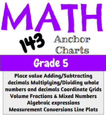 Common Core Standards Anchor Charts Math Anchor Charts Grade 5 South Carolina Common Core 143 Charts