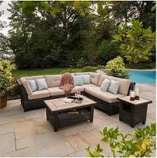 agio sonoma outdoor wicker sectional sofa with sunbrella cushions and ceramic stone tables